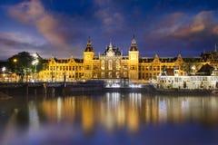 Amserdam central at night Stock Image