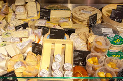 AMSRETDAM-APRIL 28: Different kind of Dutch cheese displayed for sale in a local shop on April 28,2015, the Netherlands Stock Image