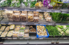 AMSRETDAM-APRIL 28: Dutch mushrooms displayed for sale in a local shop on April 28,2015, the Netherlands. Stock Photo