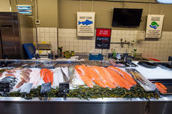 AMSRETDAM-APRIL 28: Fresh Dutch seafood displayed for sale in a local shop on April 28,2015, the Netherlands. Royalty Free Stock Image
