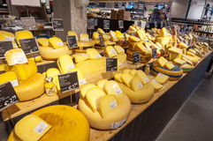 AMSRETDAM-APRIL 28: Traditional Dutch cheese displayed for sale in an Amsterdam shop on April 28,2015, the Netherlands. Stock Photo