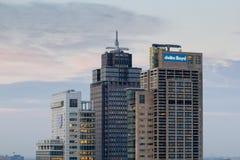Amstel在日落, 07-12-2015的商业区地平线 库存图片