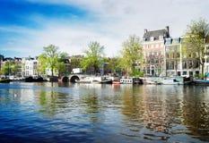 Amstel运河,阿姆斯特丹 免版税图库摄影