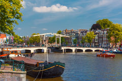 Amstel and bridge Magere Brug, Amsterdam, Holland Royalty Free Stock Images