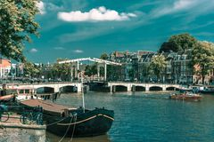 Amstel and bridge Magere Brug, Amsterdam, Holland royalty free stock photos