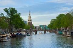 Amstel flod, Amstardam, Holland Arkivbild