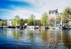 Amstel-Kanal, Amsterdam lizenzfreie stockfotografie