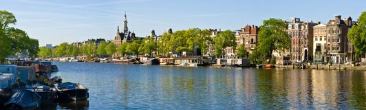 Amstel River, Amsterdam. Panoramic view of Amstel River, Amsterdam, Netherlands Royalty Free Stock Images