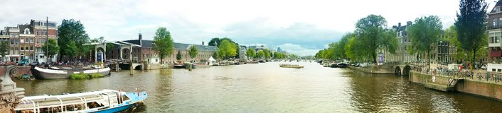 Amstel river in Amsterdam,  Netherlands Royalty Free Stock Photos