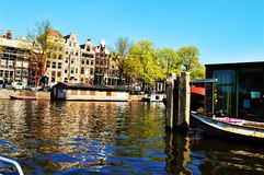 Amstel river in Amsterdam, Netherlands, Europe stock photo