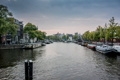 Amstel River in Amsterdam Stock Photos