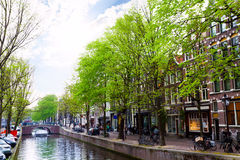 Amstel river with canal and building facades Stock Photo