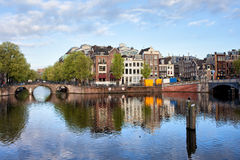 Amstel River in the City of Amsterdam Royalty Free Stock Photography