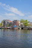 Amstel riverbank,  Amsterdam, Holland Royalty Free Stock Photo