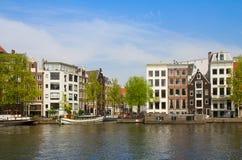 Amstel riverbank,  Amsterdam Stock Photo
