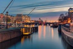 Amstelrivier en omgeving in Amsterdam Nederland Royalty-vrije Stock Foto