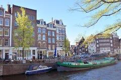 A Amsterdão, cidade, construção, verão, mola, curso, caminhada fotografia de stock