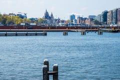 Amsterdão vista de Oosterdok, os Países Baixos imagens de stock
