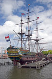 Amsterdam. A view of the boat in the harbour Stock Photography