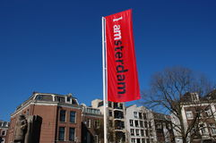 Amsterdam. I Amsterdam campaign flag in the city Royalty Free Stock Photo