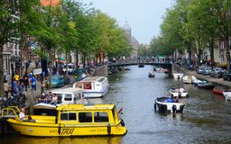 Amsterdam. A canal in Amsterdam (Holland Royalty Free Stock Images