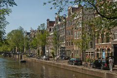 Amsterdam canal. A bright day at Amsterdam summer Royalty Free Stock Images