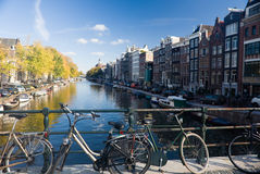 Amsterdam. Overview of one canal in Amsterdam, The Nederlands Stock Image