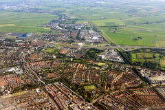 Amsterdam aerial view from plane Royalty Free Stock Photos