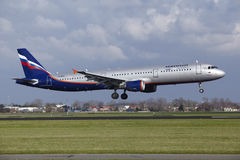 Amsterdam Airport Schiphol - Aeroflot Airbus A321 lands Stock Photos