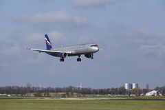 Amsterdam Airport Schiphol - Aeroflot Airbus A321 lands Stock Photo