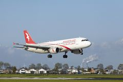 Amsterdam Airport Schiphol - A320 of Air Arabia Maroc lands Royalty Free Stock Photos