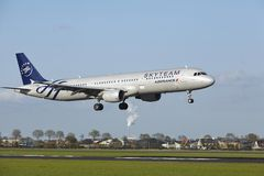 Amsterdam Airport Schiphol - A321 of Air France (Skyteam Livery) lands Royalty Free Stock Photo