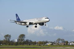 Amsterdam Airport Schiphol - A321 of Air France (Skyteam Livery) lands Royalty Free Stock Images
