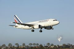 Amsterdam Airport Schiphol - Airbus A319 of Air France lands Royalty Free Stock Photo