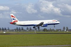 Amsterdam Airport Schiphol - Airbus A321 of British Airways lands Royalty Free Stock Image