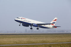 Amsterdam Airport Schiphol - An Airbus A320 of British Airways takes off Royalty Free Stock Images