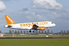Amsterdam Airport Schiphol - Airbus A319 of EasyJet lands Royalty Free Stock Images