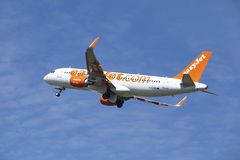 Amsterdam Airport Schiphol - Airbus A320 of EasyJet takes off Royalty Free Stock Photo