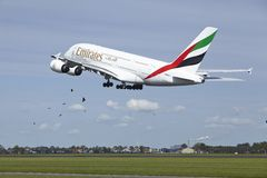 Amsterdam Airport Schiphol - Airbus A380 of Emirates takes off Stock Images