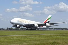 Amsterdam Airport Schiphol - Airbus A380 of Emirates takes off Stock Photography