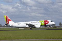 Amsterdam Airport Schiphol - Airbus A320 of TAP Portugal lands Stock Photo