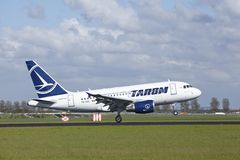 Amsterdam Airport Schiphol - Airbus A318 of Tarom lands Stock Photos