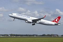 Amsterdam Airport Schiphol - Airbus A321 of Turkish Airlines takes off Royalty Free Stock Photography