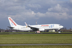 Amsterdam Airport Schiphol - AirEuropa Boeing 737 lands Royalty Free Stock Photo