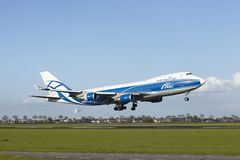 Amsterdam Airport Schiphol - Boeing 747 of AirBridgeCargo lands Royalty Free Stock Photography