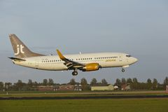 Amsterdam Airport Schiphol - Boeing 737 of Jet Time lands Royalty Free Stock Photo
