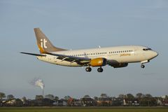 Amsterdam Airport Schiphol - Boeing 737 of Jet Time lands Stock Image
