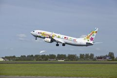 Amsterdam Airport Schiphol - Boeing 737-8K2 of Transavia takes off Royalty Free Stock Photo