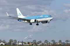 Amsterdam Airport Schiphol - Boeing 737 of KLM lands Royalty Free Stock Photos