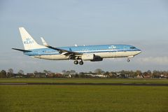 Amsterdam Airport Schiphol - Boeing 737 of KLM lands Stock Image